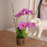 Artificial Flower Phalaenopsis Silk Flower Bronze Basket Flower Pot Set Living Room Decoration Flower Wedding Home