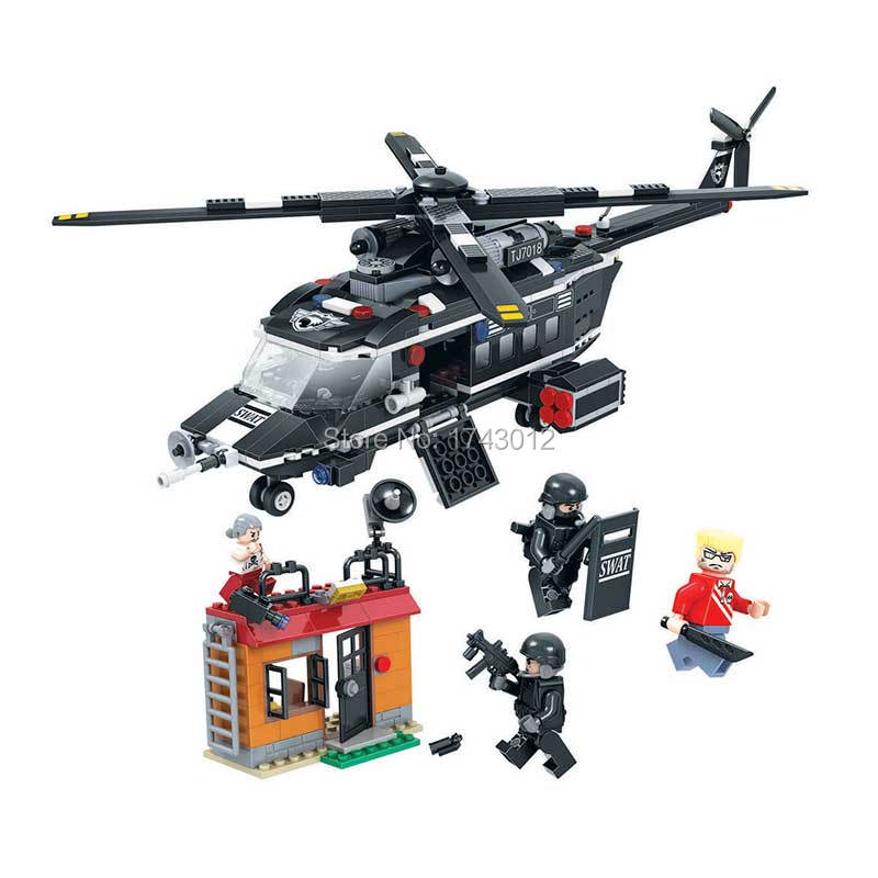 Winner 7018 City Special Police Series Special Police Helicopter Building Blocks Educational Toys Bricks For Children Holiday lepin 02020 965pcs city series the new police station set children educational building blocks bricks toys model for gift 60141