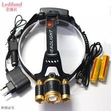3 LED Zoomable 8000LM 3x XM-L T6 LED Headlight 8000 Lumen Head Lamp Flashlight hunting Headlamp+Battery/AC Charger+USB