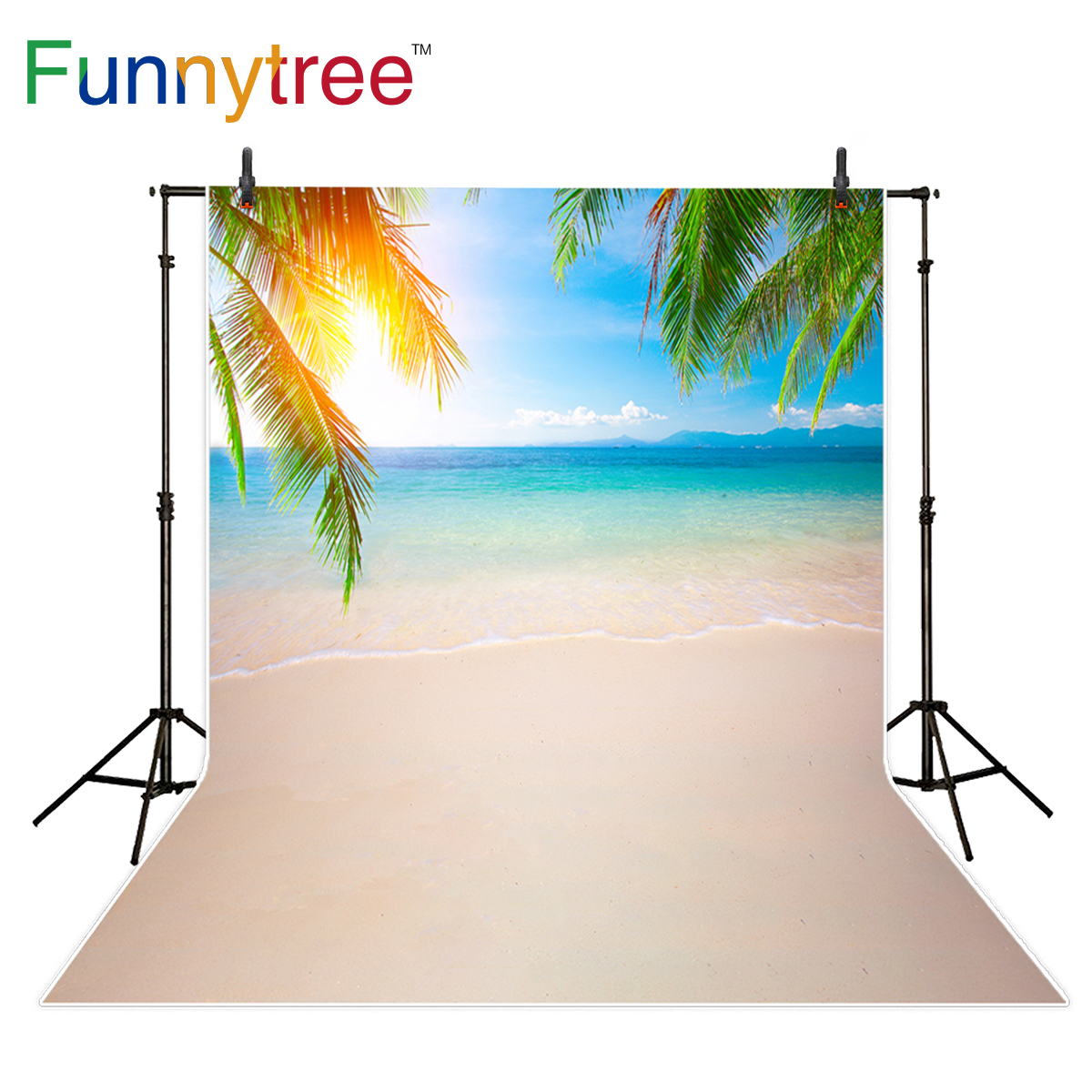 Funnytree photography backdrop sea beach summer natural scenery tropical sunshine background photocall photo studio printed
