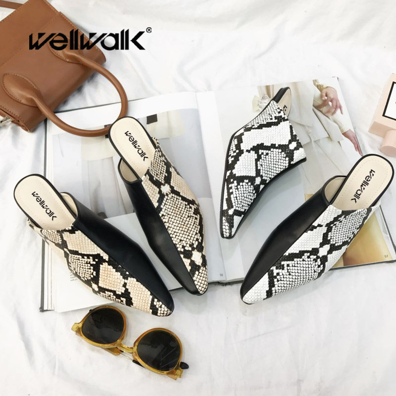 Wellwalk Clear Heel Slippers Women Pointed Toe Shoes Women Slides Fashion Mules Ladies Heel Slippers Female Dress Shoes Spring