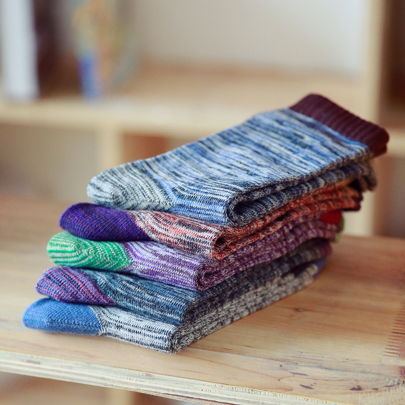 Fashion Colorful Socks Men Hit Color Stripes Big Dot Jacquard Filled Optic Combed Cotton Male Sock Business Sock 5 Pairs/Lot