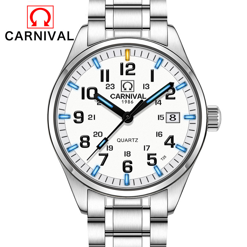 T25 Tritium Gas Luminous Watches Carnival Fashion Calendar Quartz Watch Men Full Steel Waterproof Clock Relogio Masculino 2018 yelang v1015 upgrade version khaki number tritium gas yellow luminous men automatic mechanical business watch steel watchband