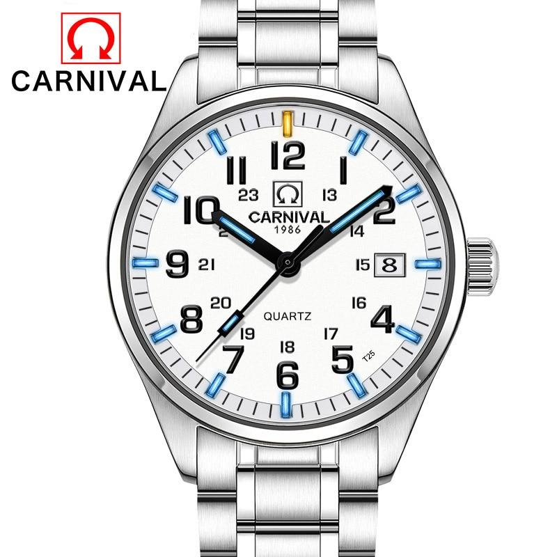 T25 Tritium Gaz Lumineux Montres Carnaval De Mode Calendrier Quartz Montre Hommes En Acier Plein Imperméable Horloge Relogio Masculino 2018
