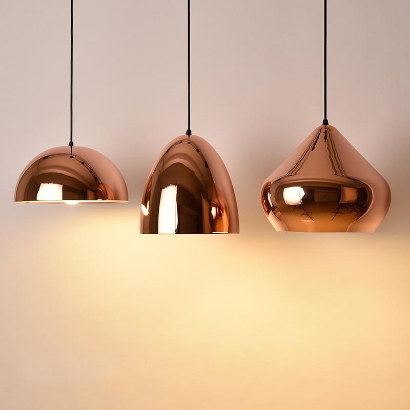 Us 82 8 28 Off E27 Rose Gold Pendant Light Modern Creative Hanging Lamp Electroplating Mirror Pendant Lamp For Dining Room Restaurant Bar Cafe In