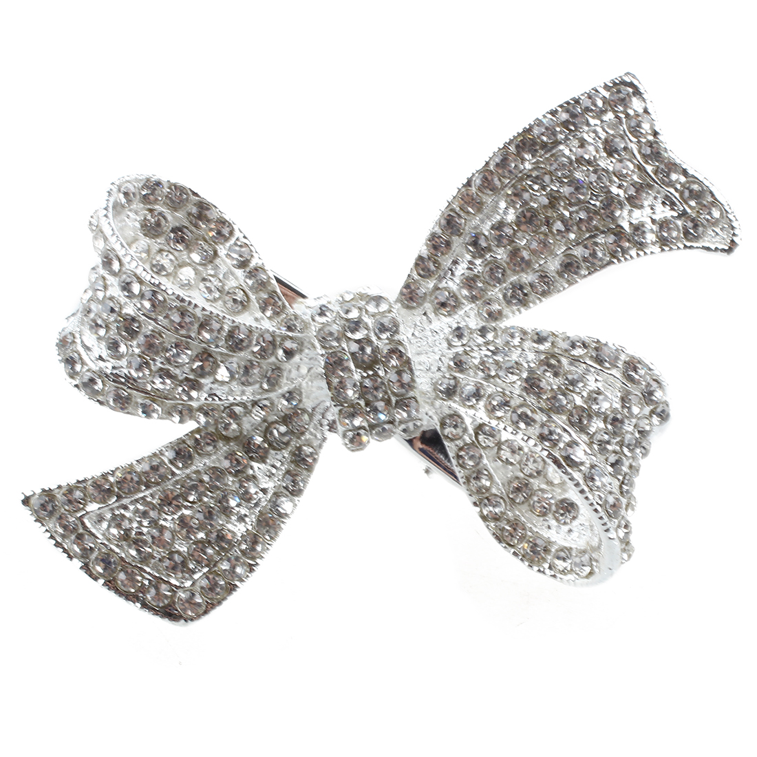 TKOH Silver plate rhinestone knot hair clip 54MM gils decoration
