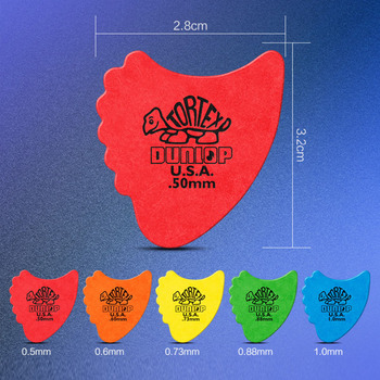 Dunlop Tortex Fins Guitar Picks Plectrum Mediator Bass Mediator Acoustic Electric Classic Guitar Parts Accessories 0.5mm-1.14mm dunlop guitar picks tortex tiii plectrum mediator bass acoustic electric accessories classic guitar picks 0 5mm 1 50mm picks