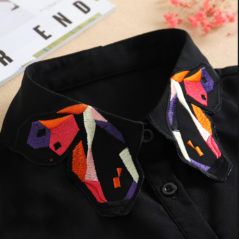 White Detachable Collar For Women 2020 Ladies Tie Embroidery False Fake Collar Shirt Black Removable Nep Blouse Kraagie Faux Col