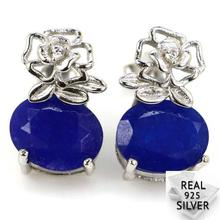 Real 3.4g 925 Solid Sterling Silver Deluxe Blue Sapphire White CZ Stud Earrings 15x10mm