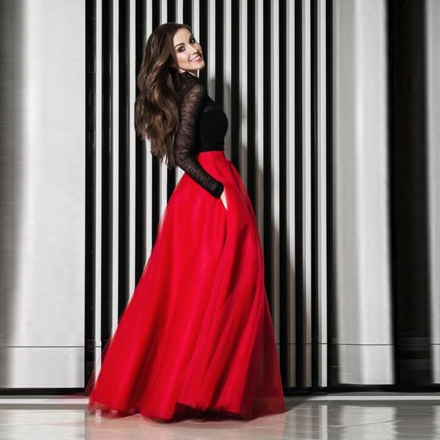 46da1f4f42 Modern Fashion Red Tulle Skirts Women Nature Waistline Floor Length A Line  Classical Maxi Skirt Smooth Long Skirt