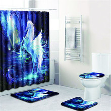 Waterproof Horse Shape Bathroom Shower Curtain Toilet Cover Mat Non Slip Rug Set With 12 Hooks