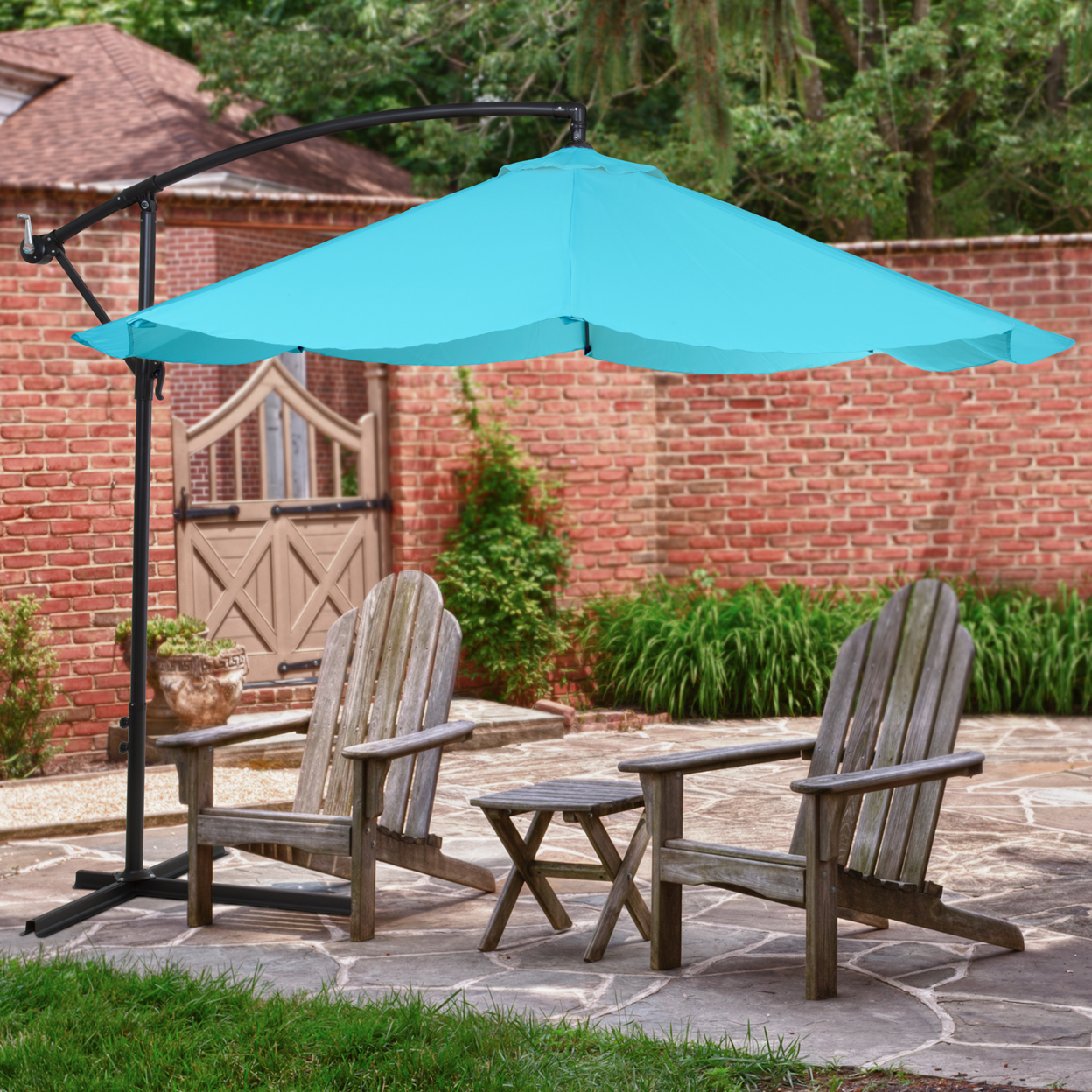 Offset 10 Foot Aluminum Hanging Patio Umbrella Sky Blue with Cross Base Bars цена 2017