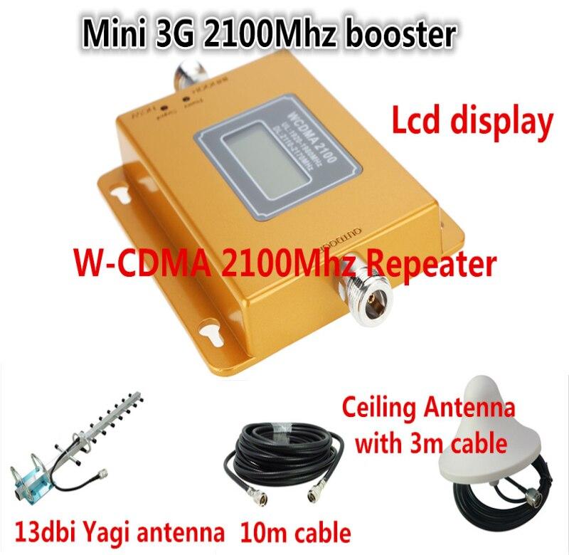 Mini LCD Répéteur + Antenne kits! 3G WCDMA UMTS 2100 MHz Cellulaire Signal Répéteur Mobile Phone Signal Booster Amplificateur Répéteur