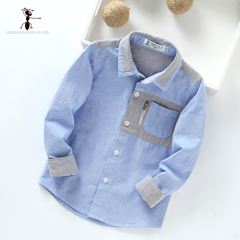 Kung Fu Ant 2017 New Arrival Cotton Turn-down Collar Patchwork Pockets School Uniforms Boys Shirts Blouse 3002 kung fu ant plaid long sleeve autumn new arrival turn down collar blusas school blouse boy shirt long sleeve cotton 7105
