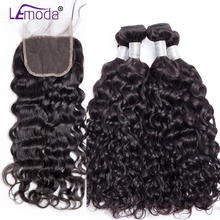 LeModa Malaysian Water Wave 3 bundles with closure 100% Human hair Weave bundles with Closure Remy Hair extensions Can be dyed(China)