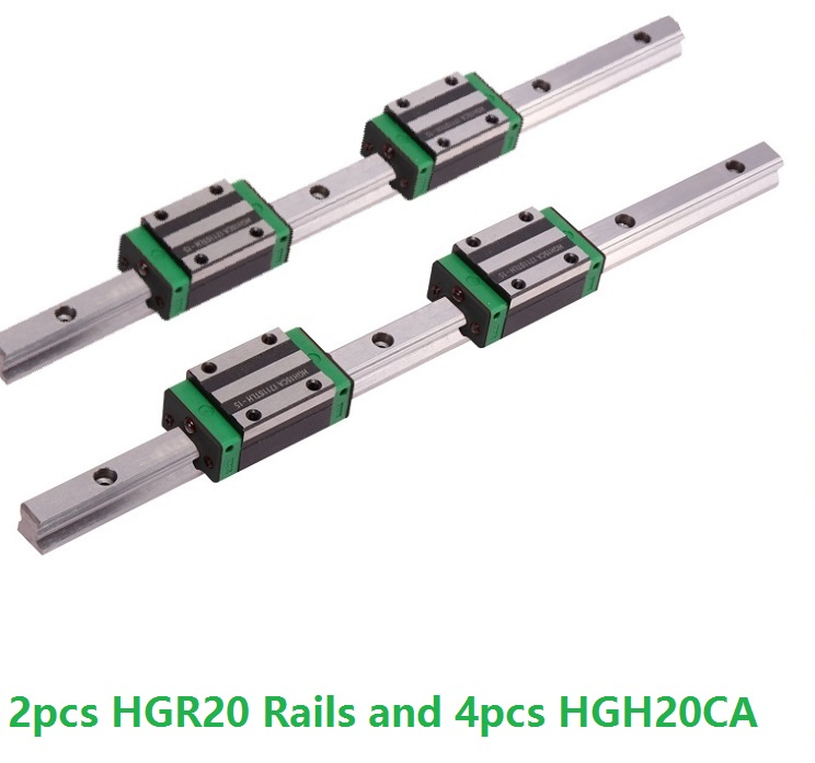 2pcs Linear Guide Rail HGR20 -L 200mm/250MM/300MM/350MM And 4pcs HGH20CA Linear Narrow Blocks CNC Router Parts2pcs Linear Guide Rail HGR20 -L 200mm/250MM/300MM/350MM And 4pcs HGH20CA Linear Narrow Blocks CNC Router Parts