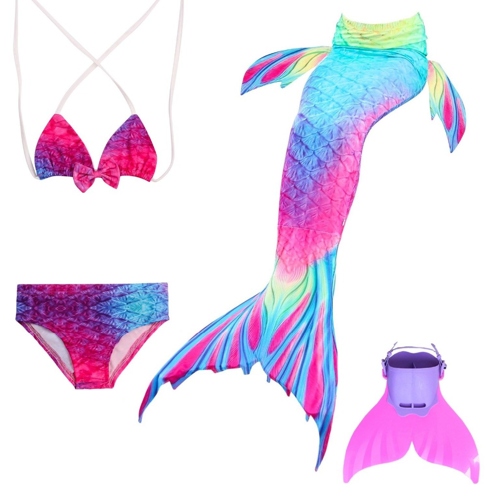 2018 HOT!Ariel Mermaid Tail Swimming Mermaid Tail with Flipper Bikini Girls Children Swimmable Mermaid Tail Costume Cosplay