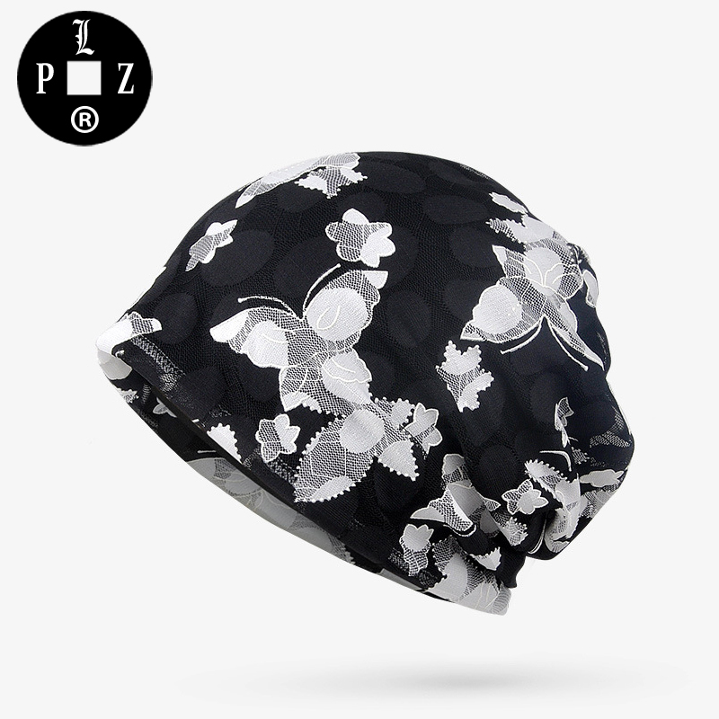 PLZ Butterfly Jacquard Beanies Thin Breathable Lace Beanie Hats for women Casual Summer Female Hat Modal Inner Good Quality Blue fashion cotton butterfly pattern lace hollow jacquard hats for women summer elastic thin soft breathable beanie skullies hat