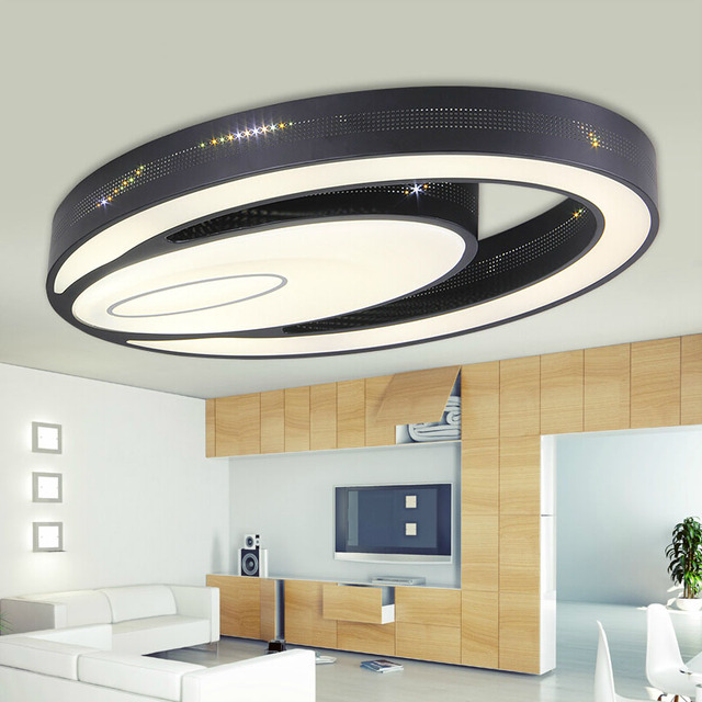 Modern eye shape Iron led ceiling lights fixture home deco living room double Ellipse Acrylic LED ceiling lamp