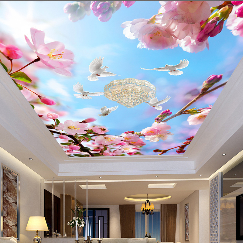 Custom 3D Wall Mural Beautiful Flowers Pigeons Blue Sky Suspended Ceiling Wallpaper Sitting Room Modern Home Decor Wall Papers