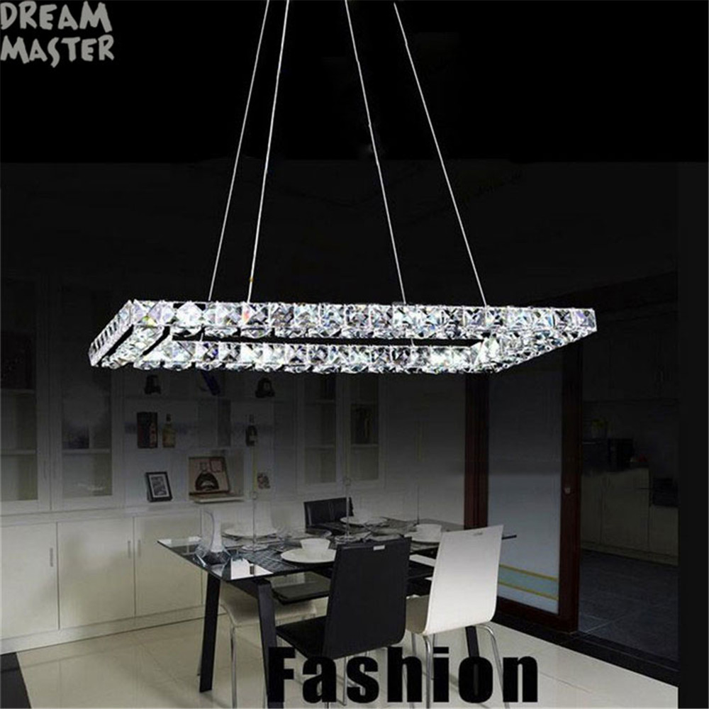 L60*W30cm L40*W20cm Rectangle LED Cord pendant lights K9 crystal Stainless steel ceiling hanging lamp LEDs luminaire fixture men s stainless steel rectangle pendant with crystal titanium