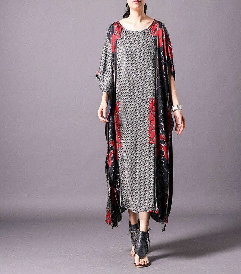 Marque célèbre Abaya dubaï arabe islamique vêtements-femmes Long caftan Maxi Robe d'été Boho ethnique Robe en soie - 2