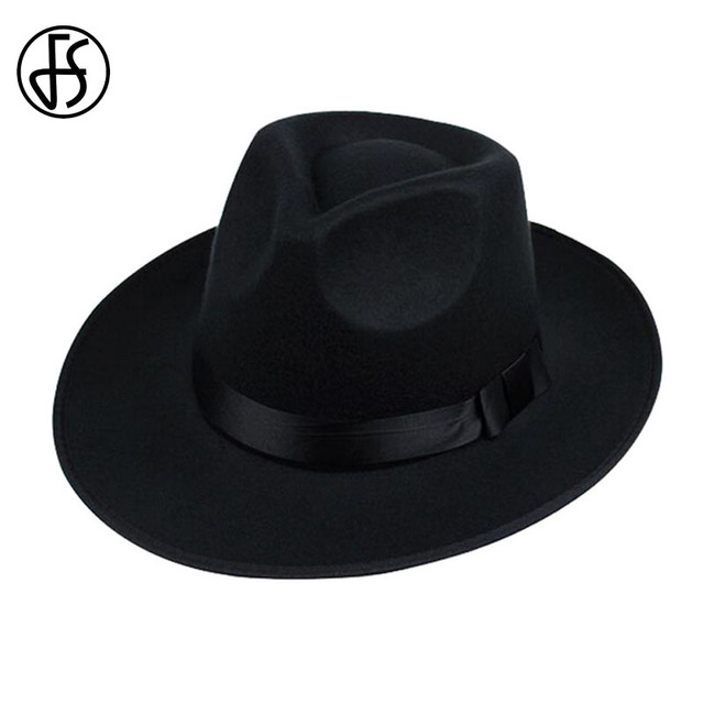 FS Unisex Black Gray Brown Wool Wide Brim Felt Fedora Hat For Men Godfather  Jazz Cap Women Autumn Winter Trilby Bowler Hats b7d18c3ff675
