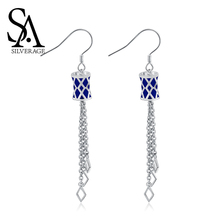 цена SA SILVERAGE  Blue Color Long Silver 925 Earrings Women Brincos 925 Sterling Silver Magic.X Drop Earrings for Women Fine Jewelry онлайн в 2017 году