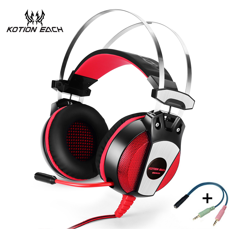 KOTION EACH Gaming Headset PS4 Xbox one Headset 3.5mm Stereo Gaming Headphones With Mic Led light for PlayStation 4 Computer PC аксессуары для игровых приставок microsoft xbox one stereo headset