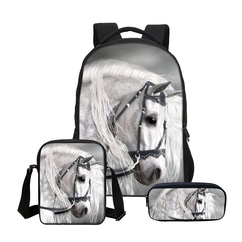 47c8177f4774 Hynes Eagle 3 Pcs Set Children Cool Bookbag Fashion 3D Horse Printing Girls School  Bag Casual Backpacks Boys Mochila Escolar