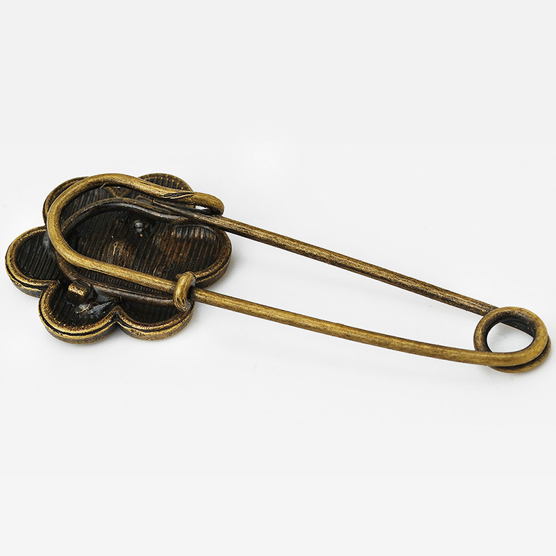 20x50mm Flower Brooch,Vintage Safety Pin,Scarf Clip pins,Antique Bronze Plated,pins brooch supplies,10pcs/lot-10065008