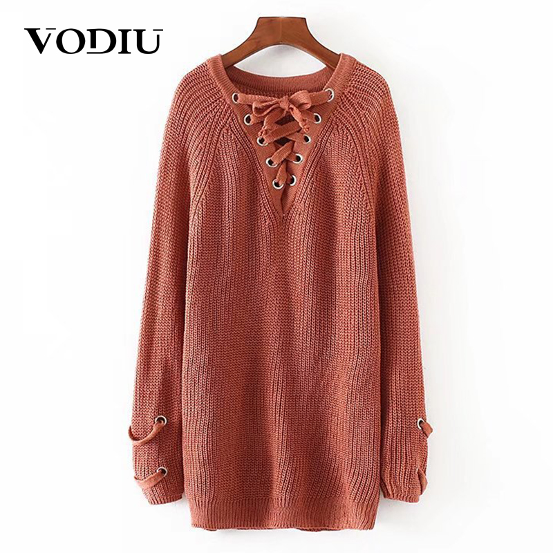 Vodiu Winter Woman Sweater Female Women Pullover Knitwear Jumper Long Sleeve V Neck Slim Solid Fashion Casual 2017 New Hot Sale