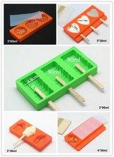Neue Ankunft Eis Werkzeuge Silikon Eiscreme-form Mit Deckel eis Gitter 5 Formen Farbe zufällig Freies 50 Holz Sticks