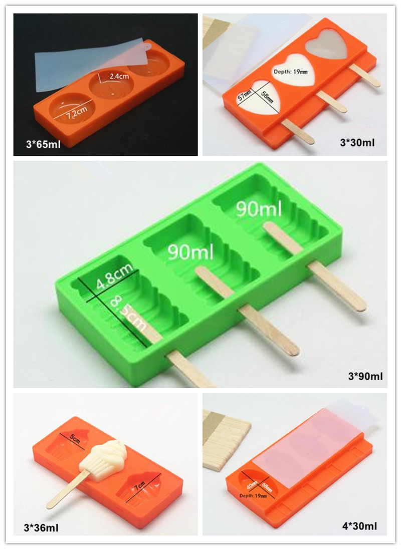 New Arrival Ice Cream Tools Silicone Ice Cream Mold  With Lid Ice Lattice 5 Shapes Color at Random Free 50 Wood Sticks