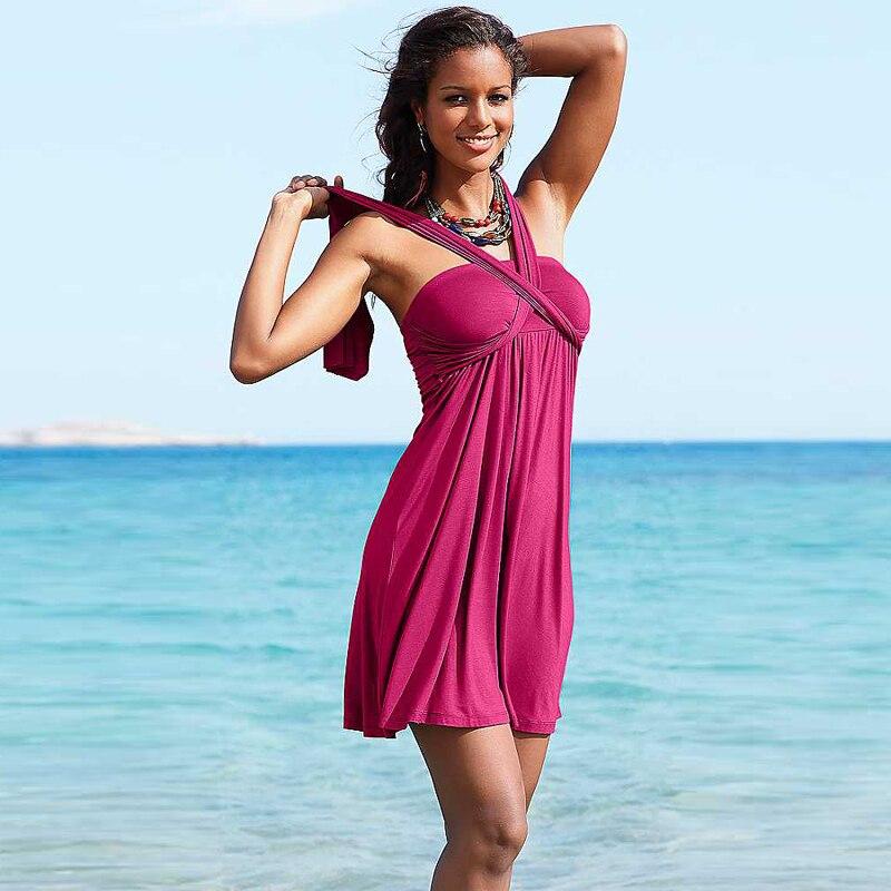 2019 nova mulher traje de banho sexy tubo superior banho cobrir na moda vestido de praia robe de plage