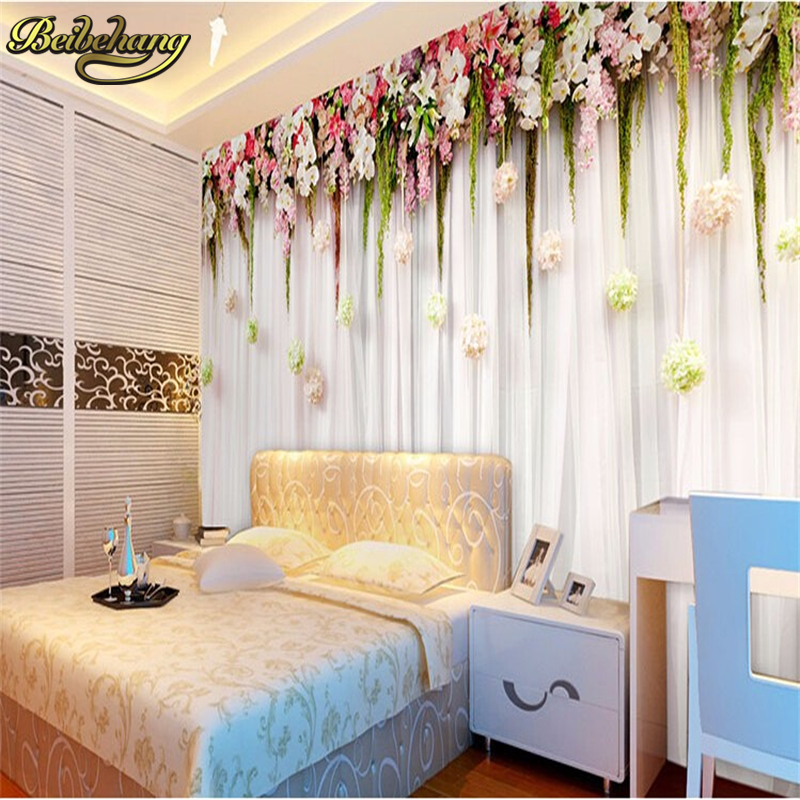 ✅Beibehang foto mural papel de pared romántica flores colgando ...