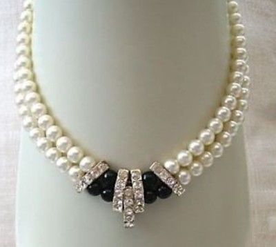 FREE SHIPPING HOT sell new Style >>>>beautiful 2 rows 8-9 mm Genuine Pearl black stine necklace цена и фото