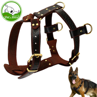 Soft Genuine Leather Dog Harness Medium Large Dogs Durable Vest Adjustable Straps Chest 23 34.5'' Brown Walking Pet Harnesses XL