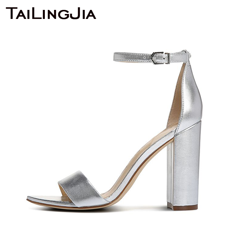 Block Heel Silvery High Women Sandals Woman Shoes Open Toe Buckle Black Red Chunky Gold Wedding Party