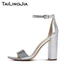 Block Heel Silvery High Heel Women Sandals Woman Shoes Open Toe Buckle Black Sandals Red Chunky Heel Gold Wedding Party Shoes