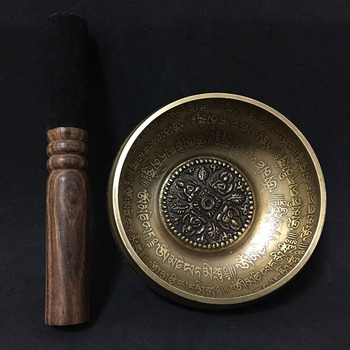 12cm nowy projekt Nepal Chakra joga misa dźwiękowa buddyzm mosiądz tybet Mantra misa dźwiękowa ze skórzanym kijem i poduszką tanie i dobre opinie Metal Tibetan Singing Bowl Buddhism Brass Doecor Mediation physical therapy Leather stick and Cushion Aliexpress Paypal