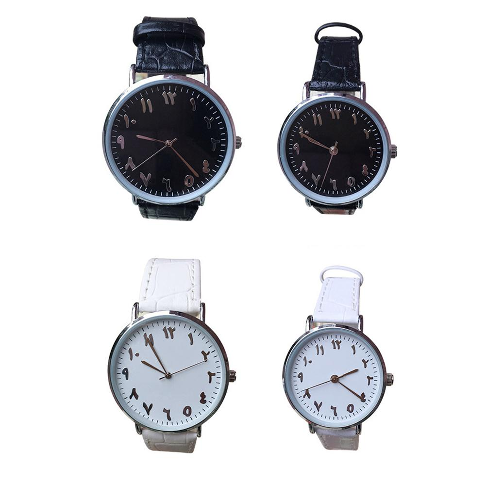 Unisex Arabic Numbers Faux Leather Analog Quartz Wrist Watches Lover Couple