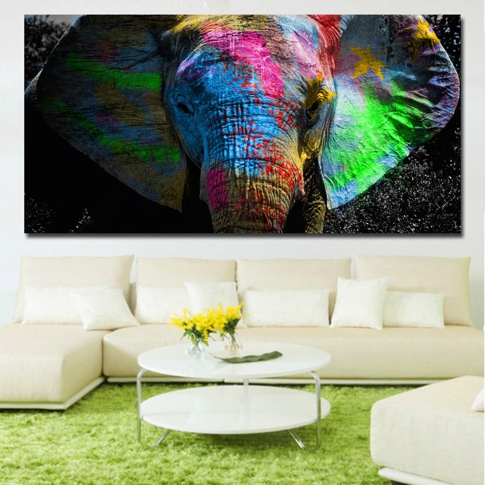 Modern Animal Painting Colorful Elephant Head Canvas