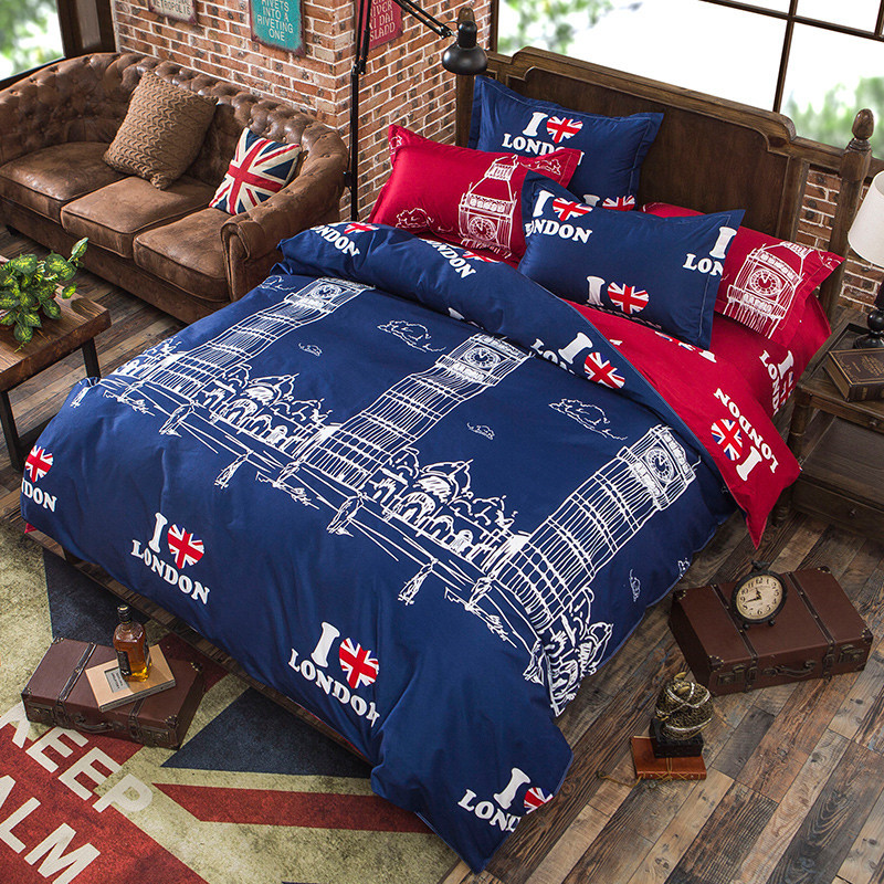 London Print Duvet Cover AB Side Blue Red Color Bedding Cover For Single Double Bed Children Adults XF348-17