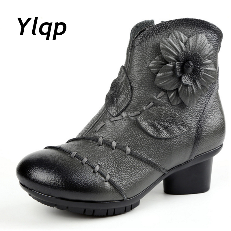 New Arrival 2018 Fashion Women Autumn Winter Genuine Leather Boots Handmade Plush Ankle Boots High heels Shoes For Ladies botas