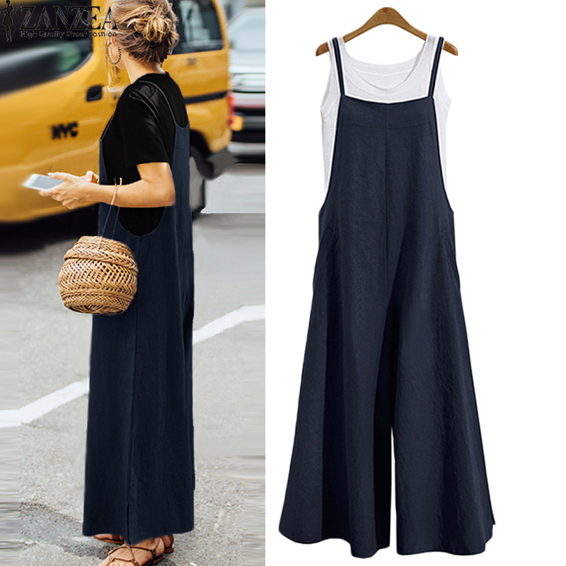 ZANZEA 2018 New Summer Women Casual Solid Strap Wide Leg Pants Pockets Romper Dungaree Bib Overalls Loose Cotton Linen Jumpsuits