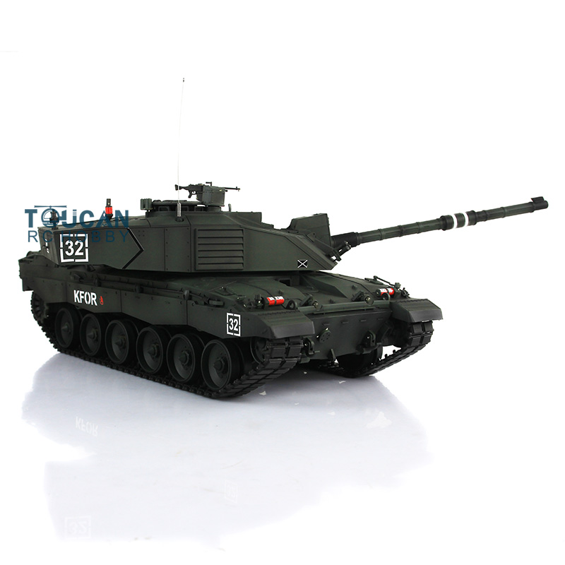Henglong 1/16 Scale Deep Green British Challenger II RTR RC Tank Metal Tracks Wheels 360 Degrees Rotation Turret 3908 2 4ghz 1 16 scale henglong deep green german leopard2a6 rc rtr tank model metal tracks wheels 360 degrees rotation turret 3889