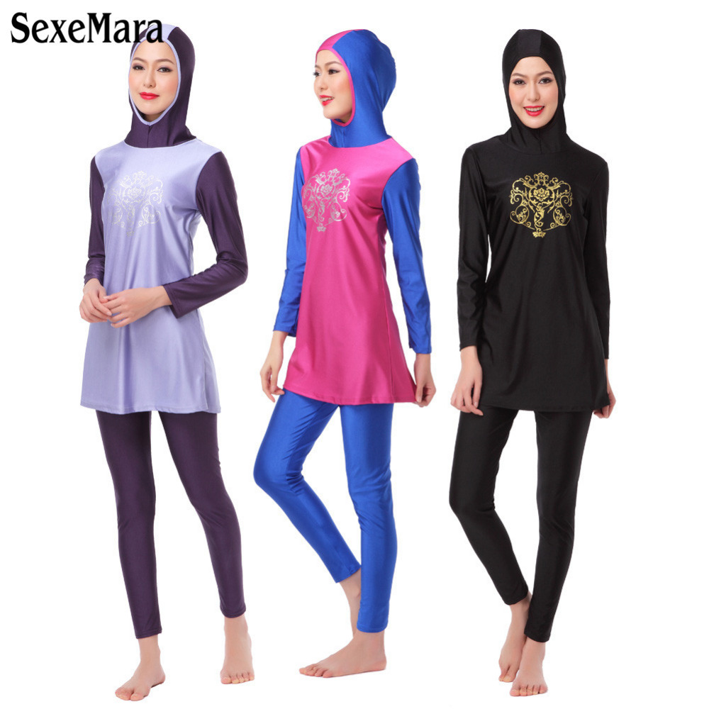 2018 Print Women Swim wear Islamic Swimsuit For Muslim Ladies Arab Islam Cover Beach Wear Long sleeve Modest Swimwear black Pink ...