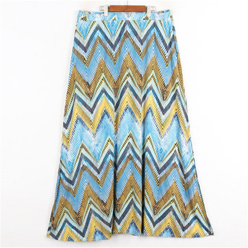 Runway Design Color Block Skirt Beach Summer Plus Size Print Skirt Women Bottom Knit Skirt Faldas Saia Jupe Bohe Long Skirt
