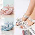 2015 New Shoes Summer Silver Sandals Girls Breathable Mesh Double-layer Bow Pretty Girl Princess Children's Sandals Shoes KL1090